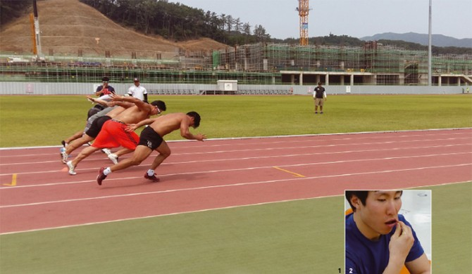 1. 스켈레톤과 봅슬레이 대표팀 선수들이 달리기 훈련을 하는 모습. 연구팀은 선수들이 부상 위험 없이 최상의 경기력을 발휘할 수 있도록 허벅지 앞뒤 부위의 근육량을 분석해 100대 70 비율을 유지하도록 조언했다. - 한국스포츠개발원 제공